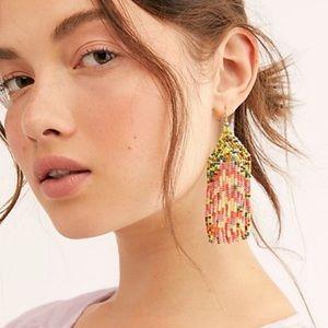 Free People Pattern Seed Bead Earrings NWT